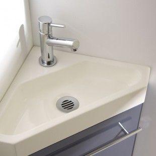Pack complet meuble lave-mains d'angle solid surface gris souris