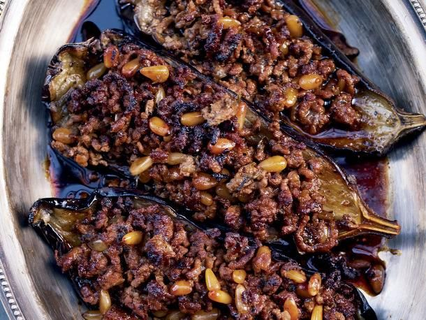 Stuffed Eggplant with Lamb and Pine Nuts from the 'Jerusalem' Cookbook. #recipe