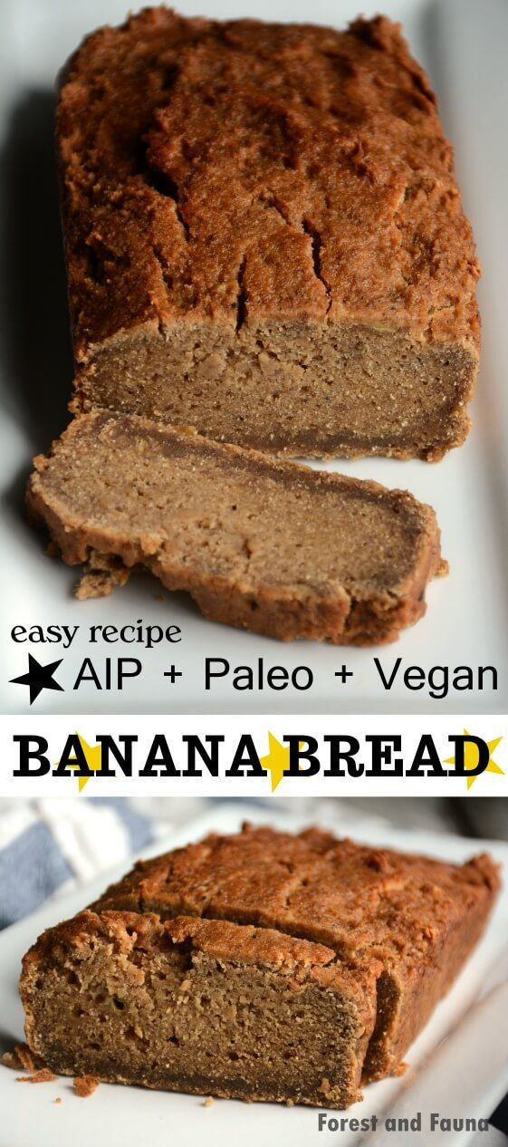 A delicious vegan, paleo, AIP approved Banana Bread! It's egg-free, grain-free, but full of flavor and bananas! ♥