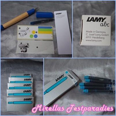Lamy abc Schreiblernfüller in der Farbe Blau und Lamy Tintenpatronen T10 in der Farbe Türkis mit jeweils fünf Patronen von Schulranzenwelt.