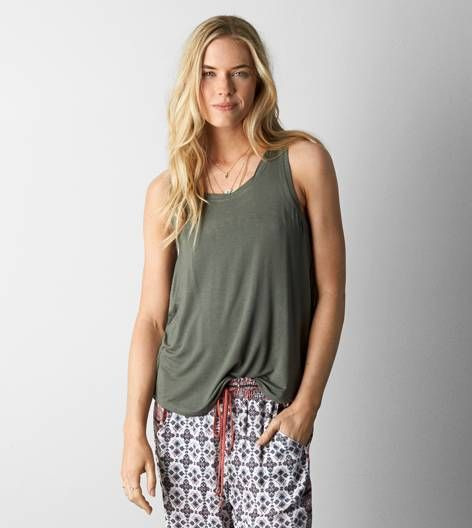 Dusty Olive AEO Soft & Sexy Favorite Tank