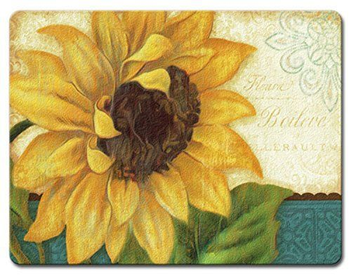 Sunshiny Day Bright Yellow Sunflower Tempered Glass Large 15 Inch Cutting Board  Yellow wall art is a truly beautiful bold and vibrant way to incorporate yellow decorative accents into your home. In fact, yellow home décor is becoming increasingly popular because people like yellow wall art, yellow wall clocks and even yellow canvas wall art to deck the walls of their home. Even more cool is the new Yellow Tempered glass home décor as its cute, charming and simply adorable.