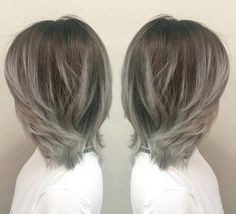 gray ombre highlights for brown hair Ash ombre hair will look just as stunning on a (former) bob. That's because it takes an otherwise common look and adds a spark of edginess to it, thanks to the color gradient. Note that the model's hair comes in three, not just two colors. It's very dark, almost black at the roots, hazel down in the midsection, and a faded blonde toward the tips.