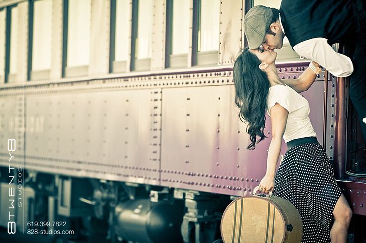 Train Engagement Photos...would be cool with old cars too. Just add Hogwarts Express on the side.