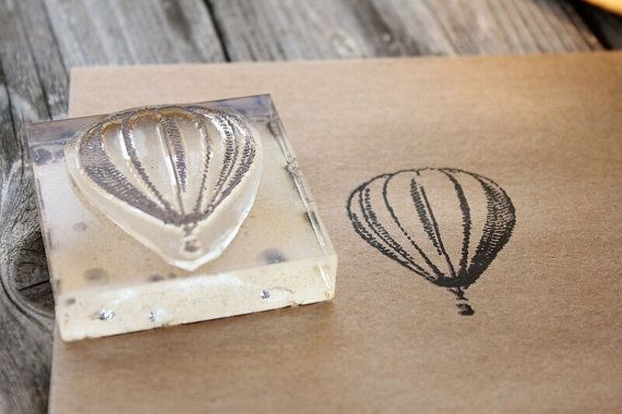 Hot Air Balloon Rubber Stamp - 2x2 Inches on Etsy, $15.00