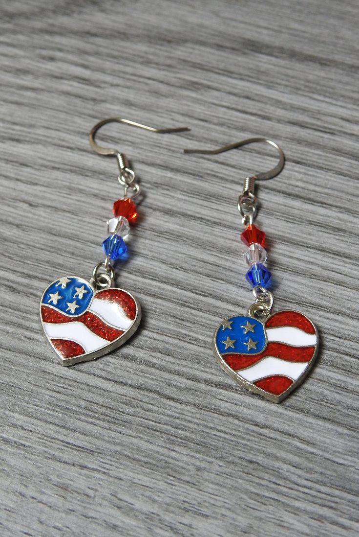 Flag Earrings – Patriotic Earrings – Heart Flag Earrings – Stars and Stripes – 4th of July – Americana Earrings – Red White and Blue
