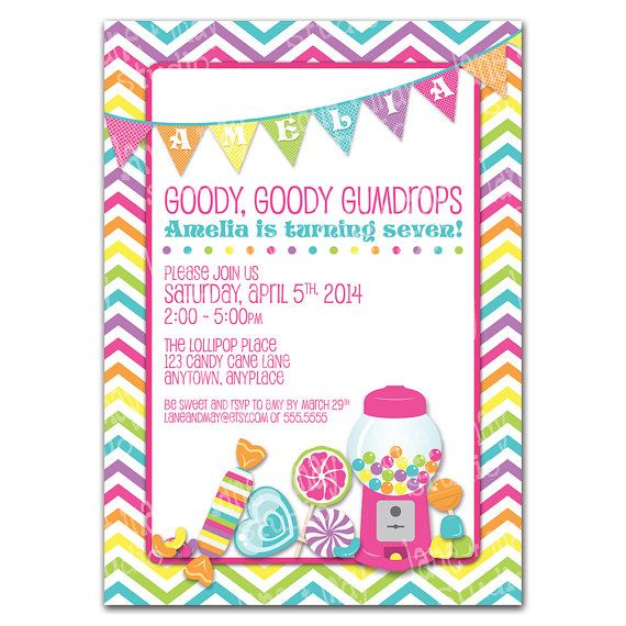 candy party themed digital/print at home invitation by lane + may, $15.00