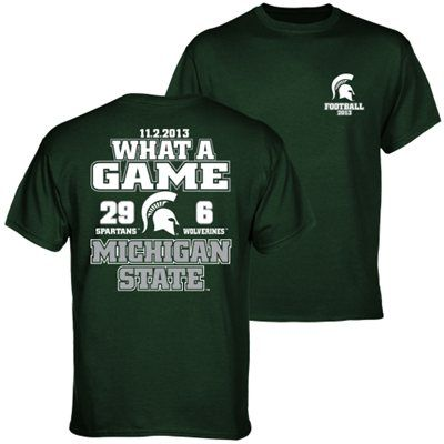 Michigan State Spartans vs. Michigan Wolverines 2013 Score T-Shirt - Green