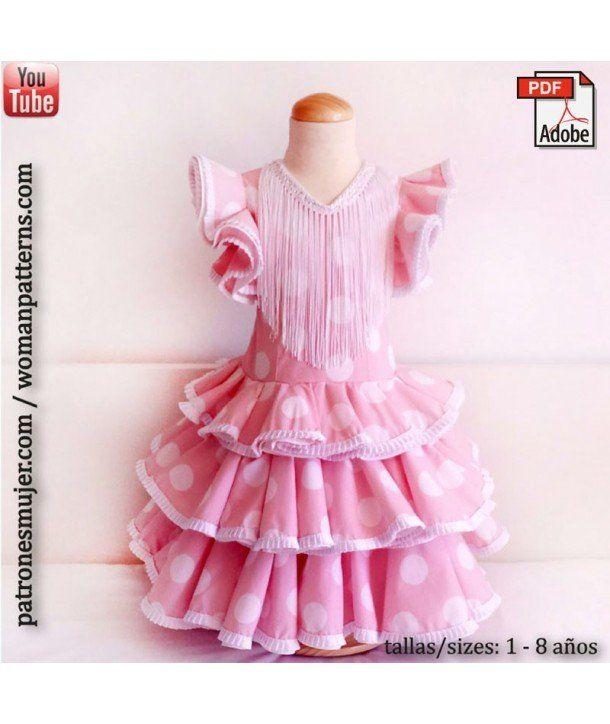 Patrón vestido niña de flamenca, con vídeo tutorial para aprender hacerlo.