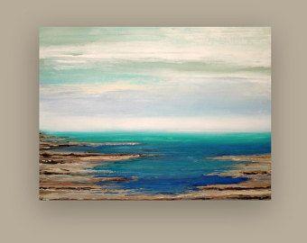 Gran pintura abstracto azul y gris Original acrílico pintura