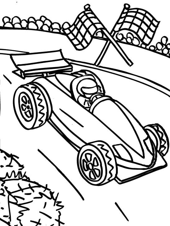 Track Racing F1 Coloring Page