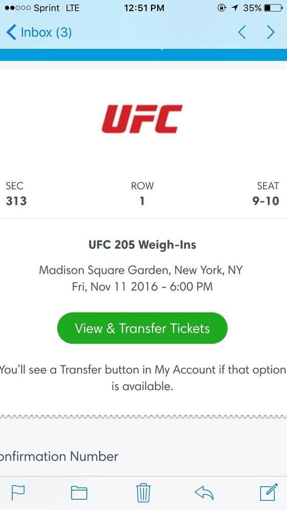 UFC 205 Tickets. Weigh-in Weighin Only 2 11/11/2016 MSG