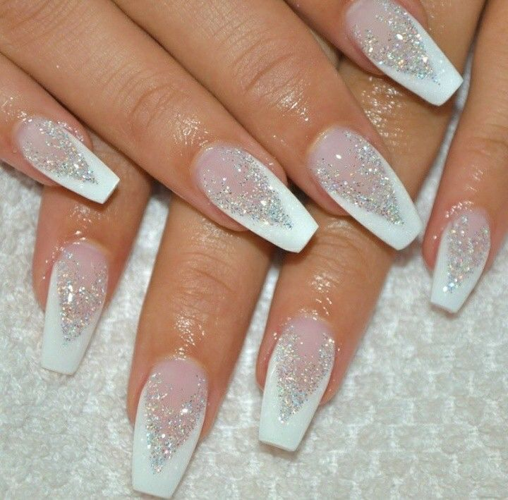 best 25 white glitter nails ideas on pinterest glitter french tips glitter gel nails and. Black Bedroom Furniture Sets. Home Design Ideas