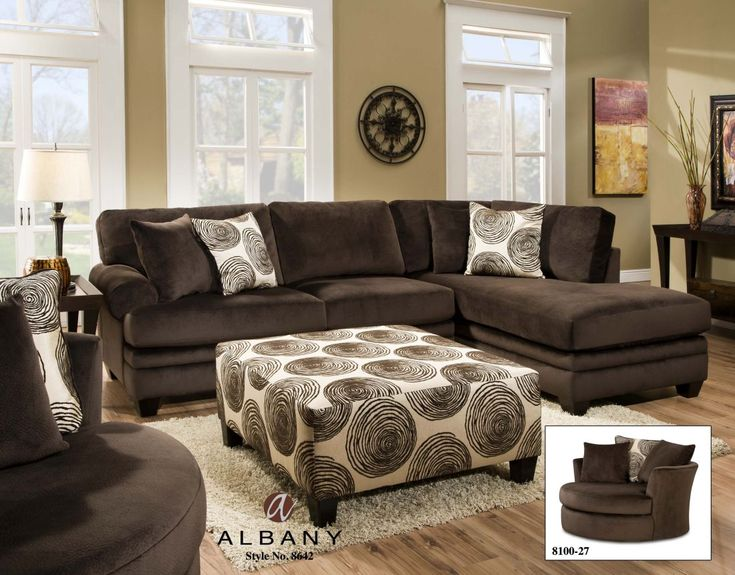 Chelsea Home Furniture Rayna Sectional Sofa Groovy Chocolate Big Swirl