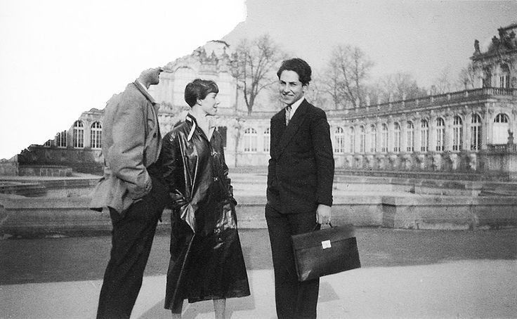 Only sixteen years old, Cahén faked his date of birth to gain acceptance into Dresden's State Academy for Applied Arts. Cahén (right) and an unidentified couple visiting Zwinger Palace,  c. 1932.