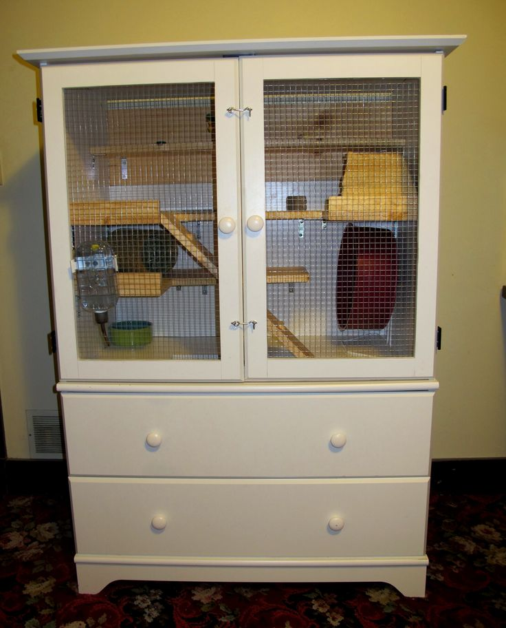 DIY Chinchilla Pet Cage; outside view of a chinchilla cage we fashioned from a secondhand armoire. Chinchilla care tips at at URL: http://chinchilla.co/ Fb fan page: https://www.facebook.com/LoveChinchilla