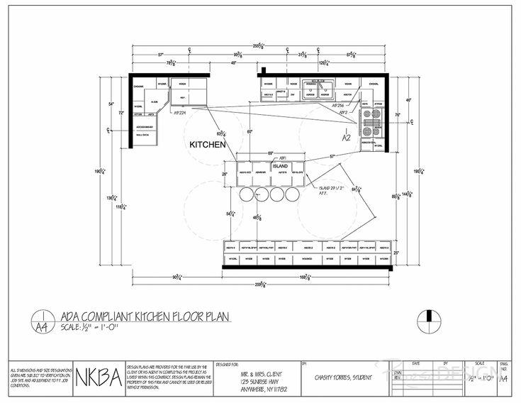 kitchen floor plan modified should client become handicapped island