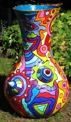 Papier maché vase; colors of the late 60's