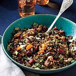 Wild Rice Dressing with Roasted Chestnuts and Cranberries Recipe   MyRecipes.com.  I am going to try this with the fresh chestnuts I got.