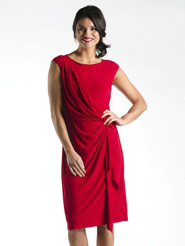 Asymmetrical Gather Dress in Red