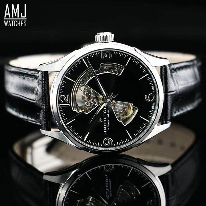 #AMJ #HAMILTON ...  HAMILTON JAZZMASTER OPEN HEART AUTO  AVAILABLE WITH 0% FROM £16.78 PER MONTH  12/24/36/48 MONTH PLANS ... FREE 0% FINANCE ... FREE DELIVERY ...  Jazzmaster Open Heart Auto The design of the Hamilton Jazzmaster Open Heart turns timekeeping into something of a tease. A glance at the face of the watch reveals part of the Swiss automatic movement in action – but not all of it. Some things can be left to the imagination – especially when they are clothed in sumptuous quality…