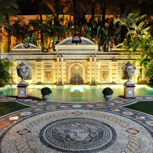 The Villa, Casa Casuarina  (Miami, FL, USA).  The old Versace mansion is back, this time as a luxury boutique hotel. There's a full-service spa, a beach club, and an extravagantly ornate dining room, as well as Versace's famous Thousand Mosaic swimming pool. And rather than the typical South Beach velvet-roped hotel bar, The Villa boasts a couple of relatively sedate private lounges, including one whose rooftop views might just change your perspective on Miami.