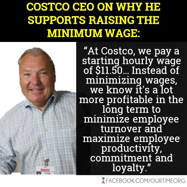 On the benefits side, 82% of Costco employees have health-insurance coverage, compared with less than half at Wal-Mart. And Costco workers pay just 8% of their health premiums, whereas Wal-Mart workers pay 33% of theirs. Ninety-one percent of Costco's employees are covered by retirement plans, with the company contributing an annual average of $1,330 per employee, while 64 percent of employees at Sam's Club are....