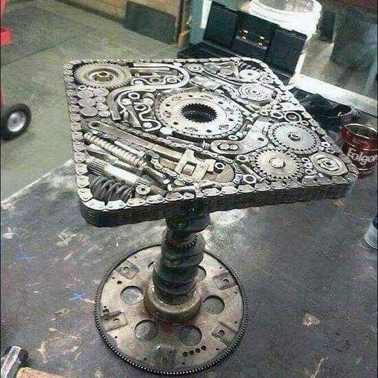 Steampunk table, Like it!!! Garage, ideas, man cave, workshop, organization, organize, home, house, indoor, storage, woodwork, design, tool, mechanic, auto, shelving, car.
