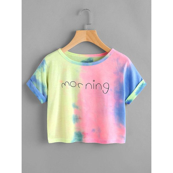 Letter Print Water Color Cuffed Tee (165 HNL) ❤ liked on Polyvore featuring tops, t-shirts, multicolor, polyester t shirts, pink t shirt, round neck t shirt, summer tops and tie dye t shirts