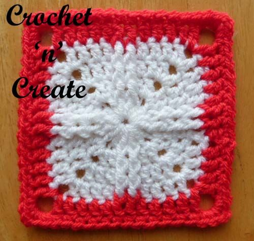Free crochet pattern for raised stitch granny square. #crochet
