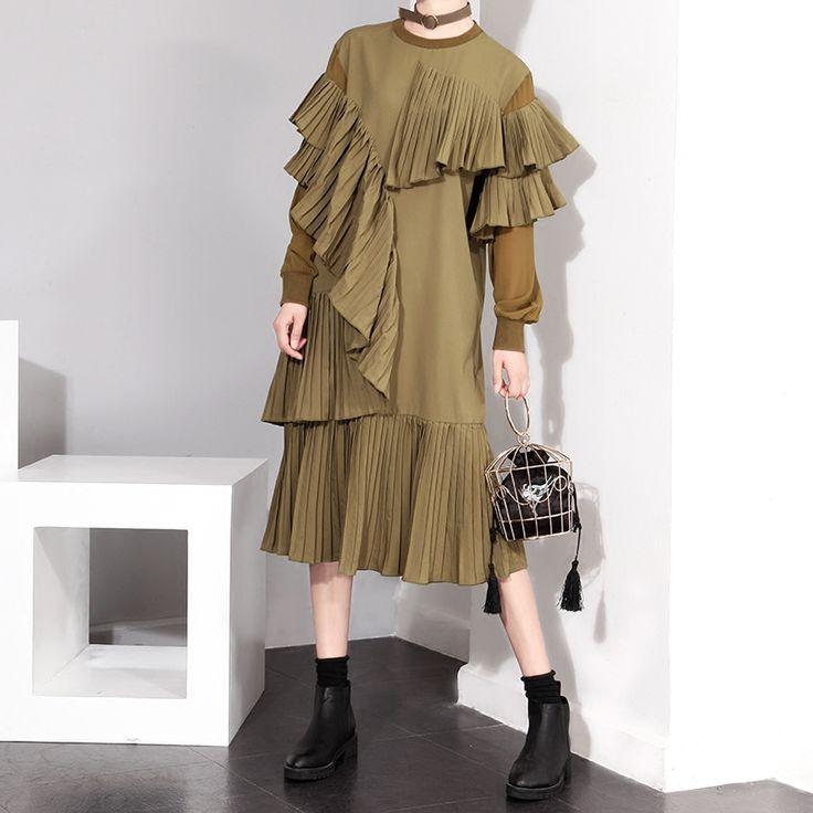 [CHICEVER] Frühling Patchwork Plissiert schichten Rüschen Mesh Langen Ärmeln Kleider Neue Mode Frauen Schwarz kleidung Armee Grün in PORTO <>:wir bieten kostenlose express verschiffen über UPS/DHL/FEDEX/EMS/TNT/ARAMEX/für die meisten des landes, w aus Kleider auf AliExpress.com | Alibaba Group