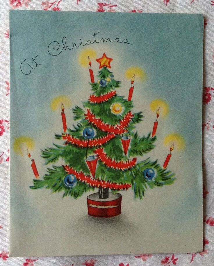 Vintage 1940s UNUSED Xmas Greeting Card Christmas Tree Decorated with Candles
