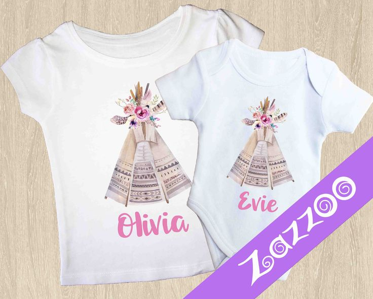 Personalized Onesie or Girls T-shirt, Personalized Bodysuit Romper, Baby shower gift, Customized onesie, Name onesie, Boho Clothing, Teepee by Zazzoo on Etsy