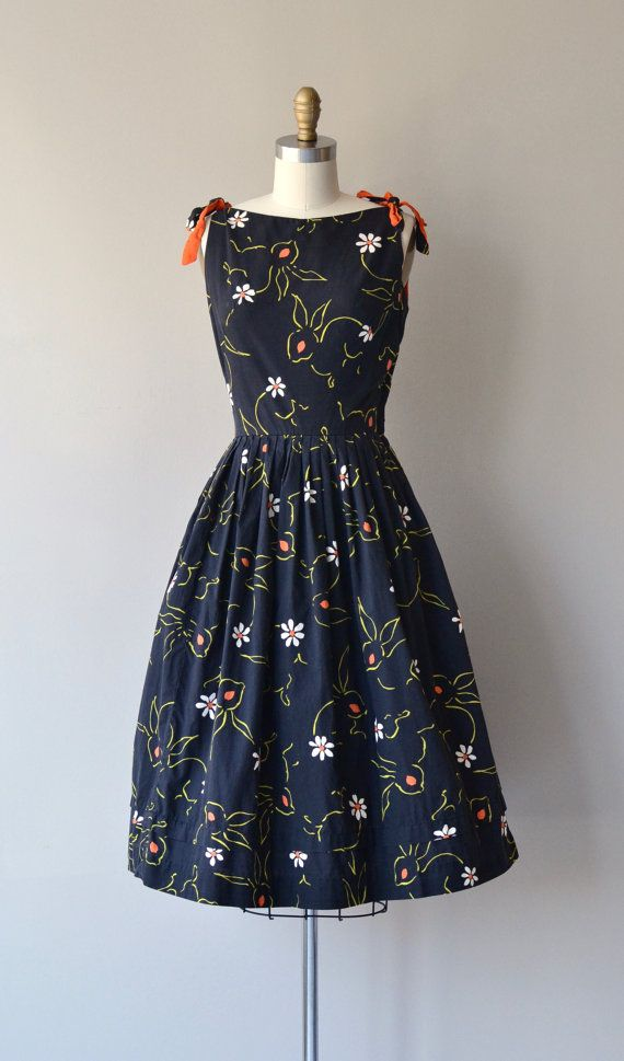 Rabbit Rabbit dress vintage 1950s dress cotton 50s by DearGolden