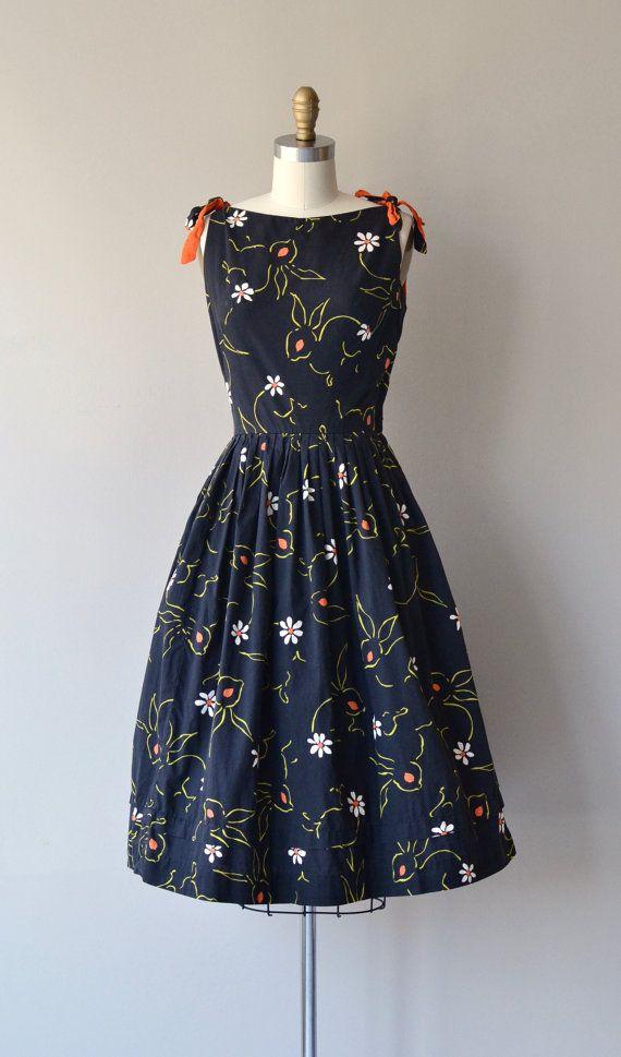 1950's rabbit novelty print cotton dress by DearGolden