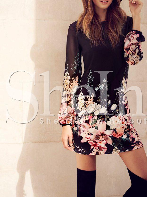Vestido manga larga flores -negro 16.48