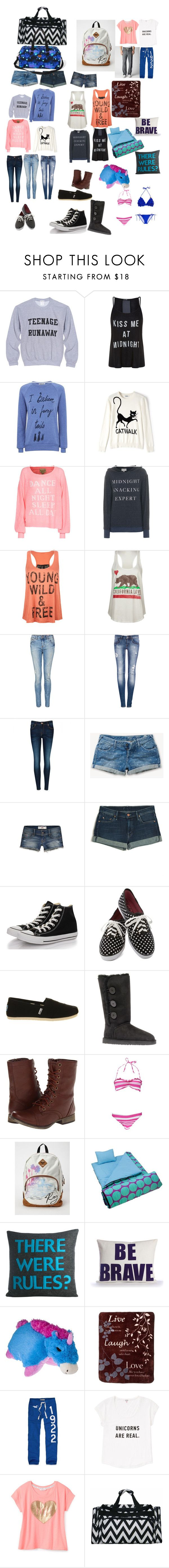 """""""Camping with R5 #1 : my bags"""" by brittr5 ❤ liked on Polyvore featuring Simeon Farrar, Moschino Cheap & Chic, Wildfox, Full Tilt, Billabong, Pull&Bear, Ted Baker, Jack Wills, Hollister Co. and Mother"""