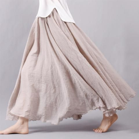 bff1bc1c75 Faylisvow Women Cotton Linen Skirt Summer Boho Pleated Elastic Waist Layers Long  Skirts Mori Girl Vintage Solid Beach Maxi Skirt