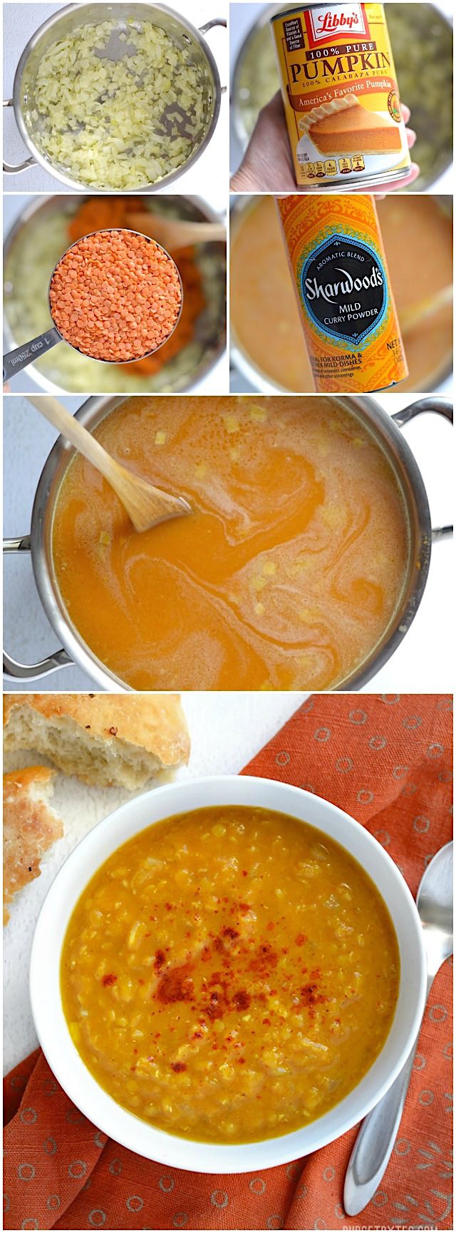 Curried Red Lentil and Pumpkin Soup - BudgetBytes.com