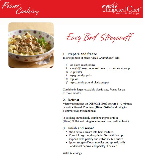 Power Cooking Easy Beef Stroganoff www.pamperedchef.biz/marinaowens Schedule your Power Cooking Pampered Chef show! (virtual or live) #OAMC #freeaermeals