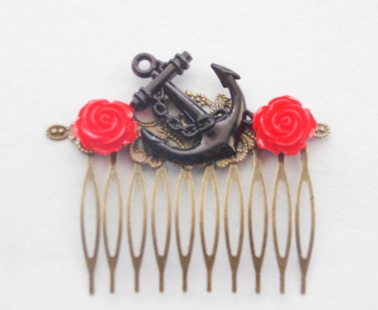 Vintage Anchor Clip Tattoo Anchor Hair Comb Red Rose Nautical