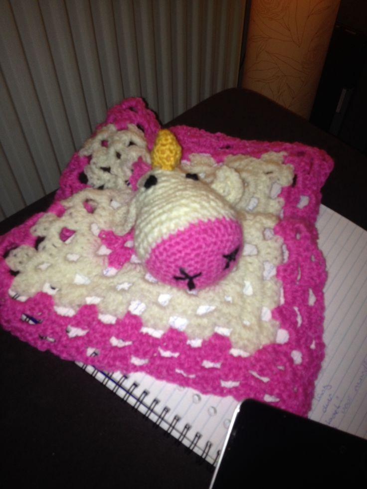 Unicorn blanket buddy - crochet