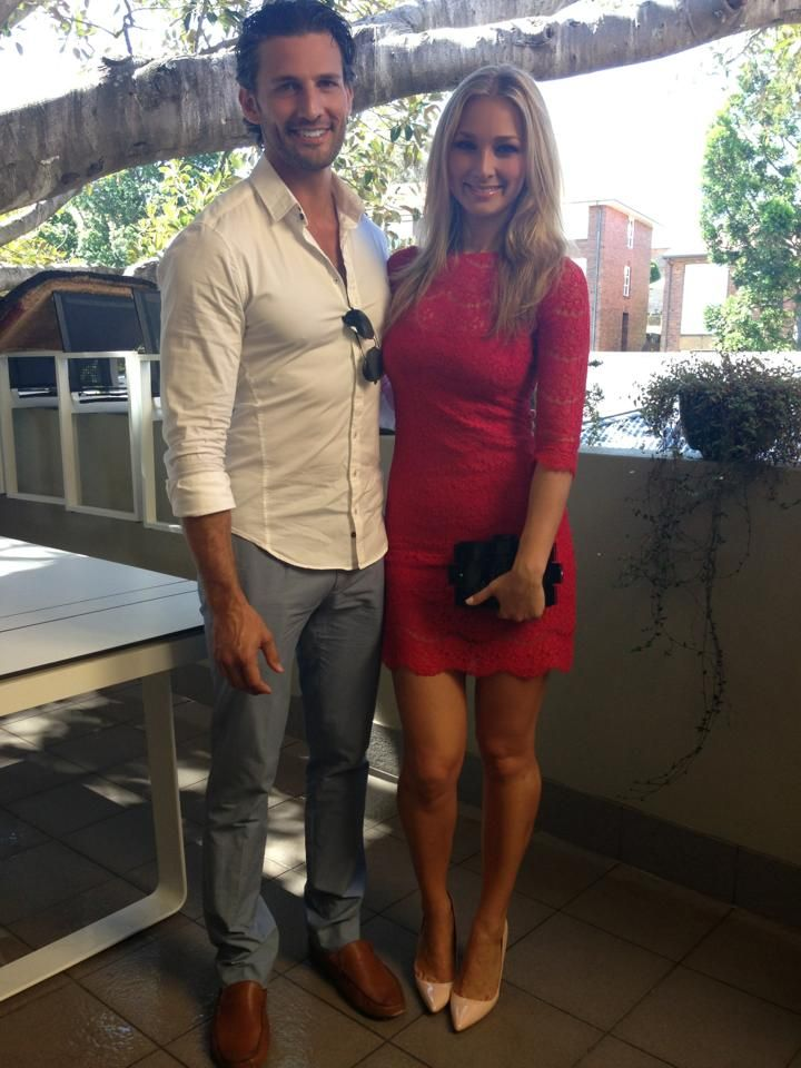 Anna Heinrich and Tim Robards.. Museum Clothing red lace dress, with Model Co lipstick..