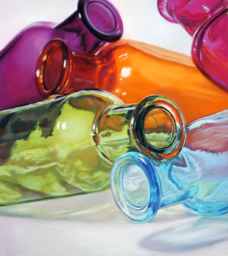Head Over Heels, A pastel still life painting of colorful bottles by Lisa Ober.   A real room brightener!