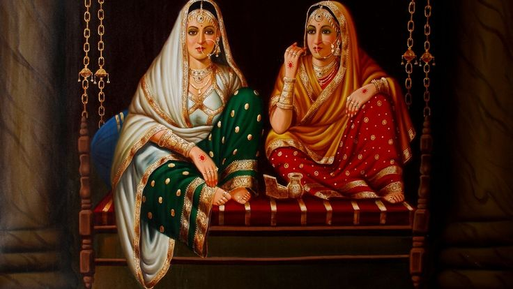 Arts, Artwork, Painting, Indian Art, Indian Artwork, Indian Painting, Modern Indian Oil Painting, The sisters, The Sisters