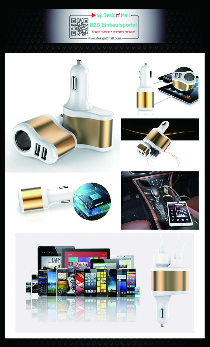 Lovely PC Auto Phone Car Charger Square aluminum Dual USB search for kab
