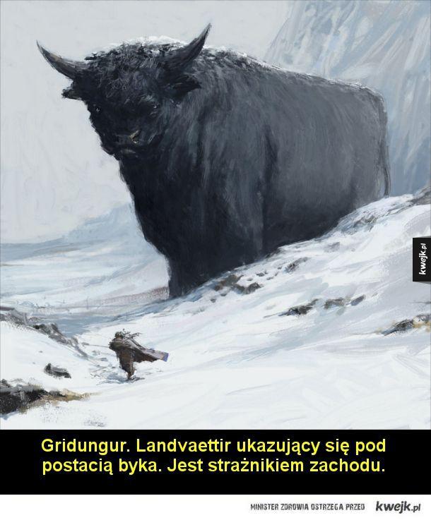 Mitologia nordycka na obrazach Asgeira Jona Asgeirssona - Bergrisi. Landvaettir, jeden z czterech legendarnych duchów opiekuńczych, strzegących Islandii. Ukazuje się pod postacią górskiego olbrzyma. Jest strażnikiem południa.  Gammur. Landvaettir ukazujący się pod postacią orła albo sępa. Jest strażnikiem północy