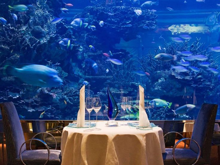 "The floor-to-ceiling aquarium inside Al Mahara, which translates to ""the oyster shell,"" is exactly the underwater dining experience you'd expect from a restaurant Dubai's luxurious Burj Al Arab hotel. Related: The Perfect Weekend in Dubai"