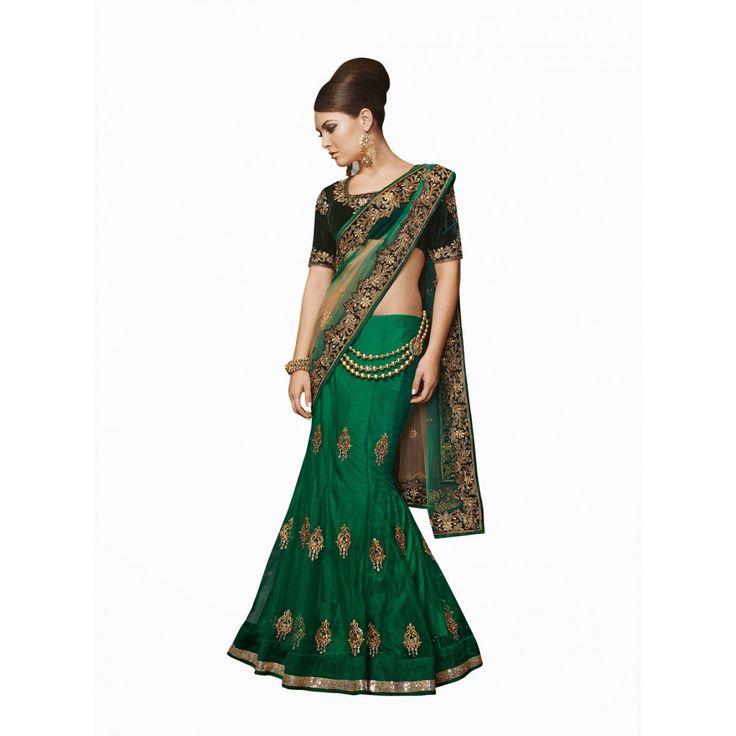 Green Net Designer Lehenga #Saree With Blouse- $149.72