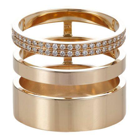 Repossi Pavé Diamond & Gold Berbère Module Cage Ring at Barneys.com